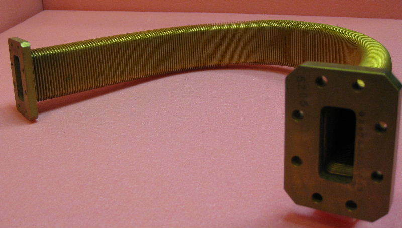 "BRASS FLEXIBLE WAVEGUIDE, 19.5"", MICROWAVE/RADIO, 1 EA."