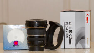 LNIB Canon EF-S 10-22 IS USM lens with B+W F-Pro Filter and hood