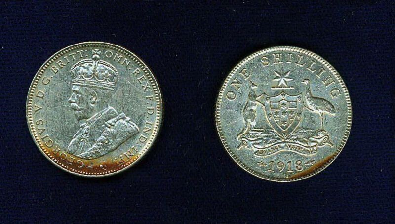 AUSTRALIA GEORGE V  1918-M  1 SHILLING SILVER COIN, VERY NICE!  XF+