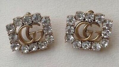 Gucci clip on earrings in antiqued gold tone and Swarovski crystals XR 249