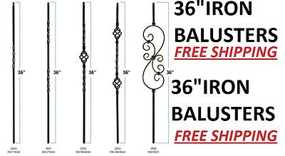 "36"" Black Iron Stair Parts Metal Balusters Spindles Twists Baskets Scrolls 36"""
