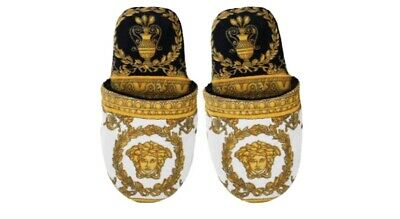Versace Home - I Love Baroque Slippers - Black/white/gold - Large. Brand New