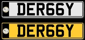 Cherished Number Plate: DER 66Y - Ideal for Derby County DCFC Fan or Derby resident