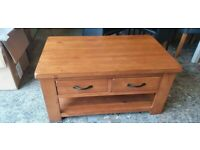 Fully Assembled Arizona 2 Drawer 1 Shelf Solid Pine Coffee Table