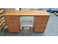Fully Assembled Nordic 8 Drawer Dressing Table & Stool - Pine
