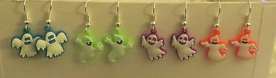 Rubber Ghost Dangling Earrings - Pick 1 of 4 Colors