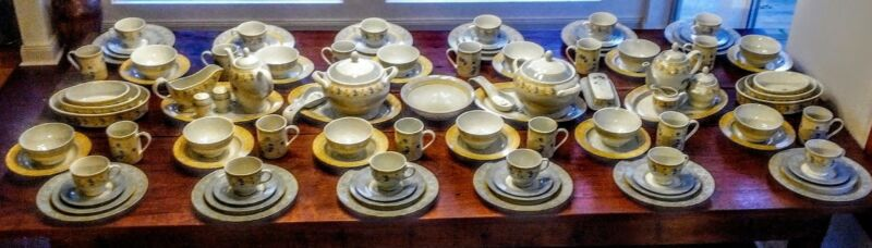 12 PLACE SETTINGS SERVING PIECES  ENCHANTED GARDEN CHINA HERITAGE MINT 115 piece