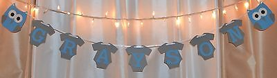 its a boy baby shower blue /grey clothing owl custom name hanging banner - Owl Boy Baby Shower