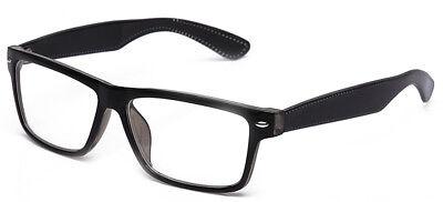 Clear Lens Glasses Rectangular Frame Stitches Design Temple Non (Mens Non Prescription Designer Glasses)