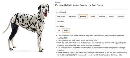 Kruuse XS Dog right knee protector brand new
