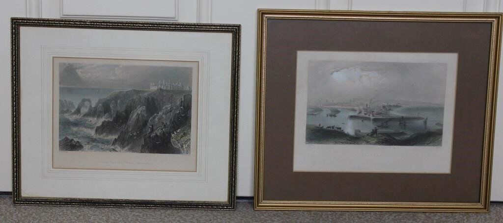 Aberdeen and Slaines Castle by W.H. Bartlett Professionally Crafted Prints set. House Clearance Sale