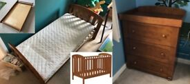 John Lewis 'Rachel' Cot Bed (Antique wood) and drawers