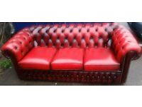 1 x Red Chesterfield Three Seater Sofa, Pub / Dining/ Furniture