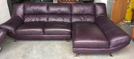 £3000 purple leather corner sofa WE DELIVER UK WIDE