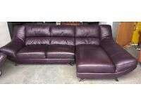 £3000 purple leather corner sofa WE DELIVER UK WIDE