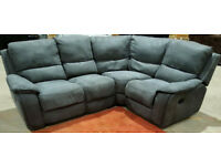 Recliner Corner Sofa Suede - Grey