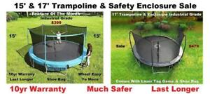 15 ft &17 ft New Trampoline & Safety Net Enclosure Sale, Industrial Grade, Real Safe,10 Year Warranty,Ship Available
