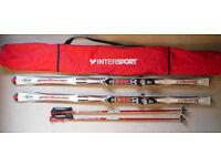 Rossignol Bandit skis Dualtec 191 cm, Salomon 850 bindings, R602 poles, Intersport carry bag