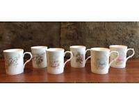 Set of 6 fine bone china mugs with pretty flower decoration