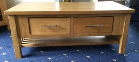 Solid oak coffee table with two draws