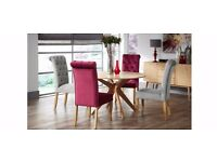 Pair of High Quality Silver Chesterfield Dining Chairs with Oak Legs (Delivery anywhere in UK)