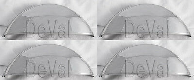 """5 3/4"""" Stainless Steel STICK OUT half moon headlight covers shields visors moons"""