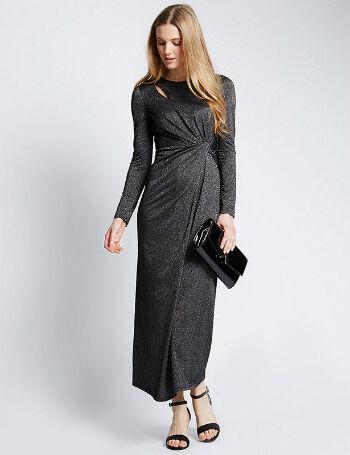 Metallic Effect Twisted Maxi Dress