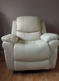 Cream Leather Electric Recliner Chair