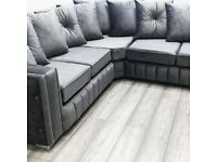 DELIVERY AVAILABLE NEW ALISON MAYA PLUSH VELVET CORNER SOFA OR 3+2 SOFA SET AVAILABLE NOW IN STOCK