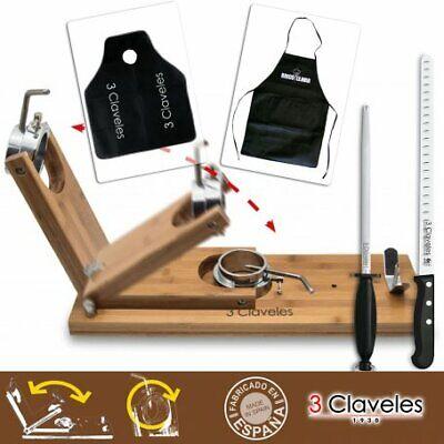 Soporte Jamonero Giratorio Plegable metal/bambú largo + set Cuchillo Jamonero, C
