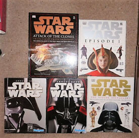 5 x STAR WARS Books,Attack Clones,Eps 1 and Ult Characters Visual Dictionarys, with 2 Annuals