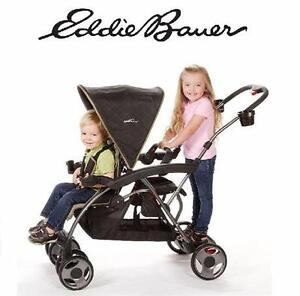 USED EDDIE BAUER DOUBLE UP STROLLER  DOUBLE UP STROLLER EASTON - BLACK BABY CARRIER WALKER  92964452
