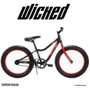 """NEW* WICKED GRIZZLY 20"""" BOYS BIKE - 112071072 - FAT TIRE BICYCLE - BLACK/RED"""