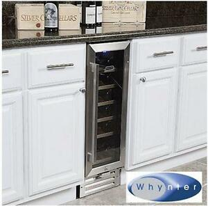 NEW WHYNTER WINE REFRIGERATOR 18 Bottle Built-In Wine Refrigerator, Black FRIDGE BEVERAGE 87720011