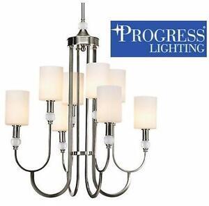 NEW 8-LIGHT ETCHED GLASS CHANDELIER Progress Lighting Splendid Collection BRUSHED NICKEL CEILING LIGHT FIXTURE  84796481