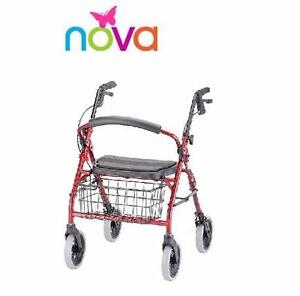 NEW* NOVA MEDICAL TRANSPORT CHAIR ROLLATOR - RED - FOLDING - CRUISER DELUXE WALKER MOBILITY HEALTH MEDICAL  88114563