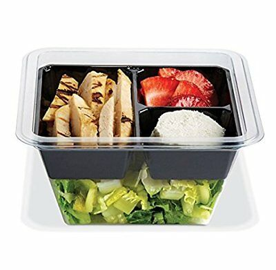 Gocubes 24 Oz Pet Container With 3-comp Black Insert And Clear Lid 100 Sets