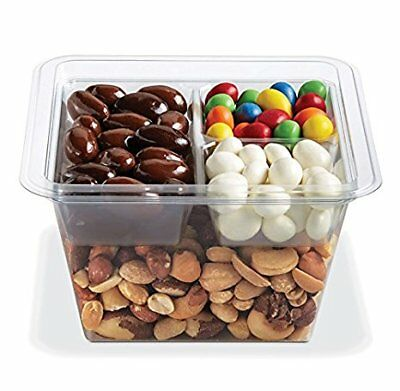 Gocubes 32 Oz Pet Container With 3-comp Clear Insert And Clear Lid 50 Sets