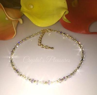 "10"" GOLD  Aurora Borealis AB Swarovski Crystal Element  Ankle Anklet Bracelet"