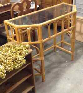 Rattan and Glass side table