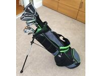 """US Kids Golf Clubs - Full set of 10 Clubs, Bag & Rovic Trolley (Size 57"""" Green)"""
