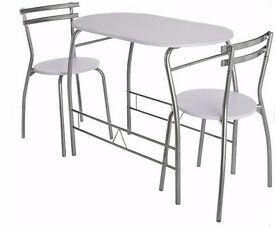 HOME Vegas Dining Table and 2 Chairs - White 168.