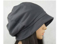 Medium Grey Loose Cotton Bucket Hat with Gathered Back Detail