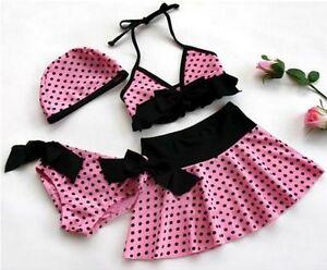 New-baby-toddler-girls-Swimwear-bikini-kids-Swimsuit-panties-skirt-hat-A01