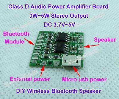 DC3.4V-5V Micro USB Power Amplifier Board 2.0CH 5W DIY Bluetooth Audio Module