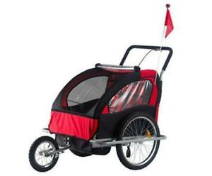 Bicycle Trailer & Stroller / 2 in 1 Red Black Stroller jogger