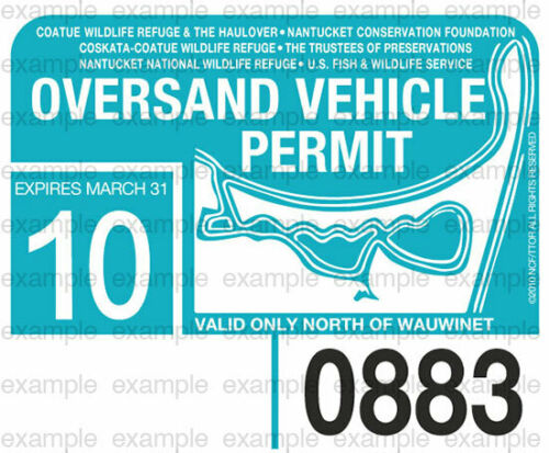 2010 Nantucket Oversand Vehicle Permit - ACK Beach Sticker Decal Great Point