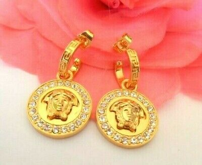 VERSACE MADE IN ITALY Medusa Head, Zirconia  Gold Plate Stud  Statement Earrings