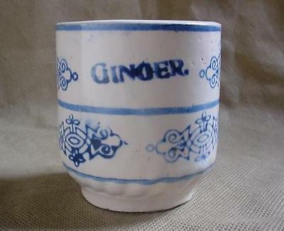 RARE 1900'S MINIATURE BLUE  WHITE GINGER STONEWARE POTTERY SPICE JAR BRUSH MCOY