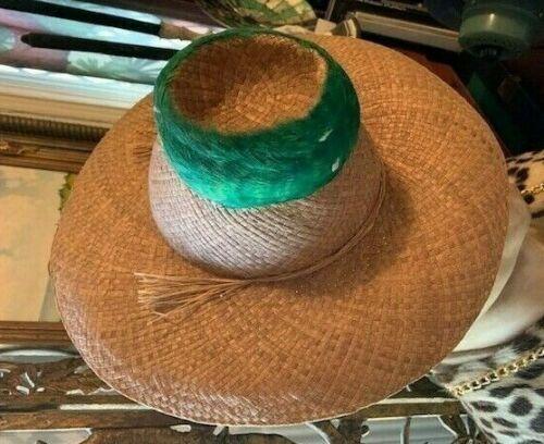 Vintage Hawaiian Elsie Krassas Feather GREEN LEI HATBAND Straw Hat Hawaii Made